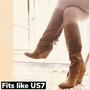 Suede Leather Side Fringe Wedge Boots